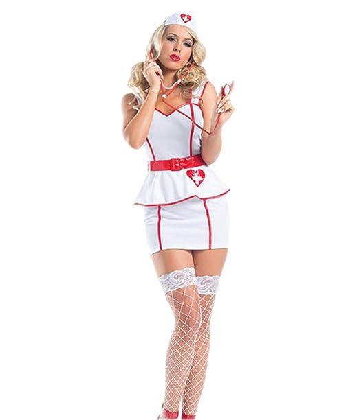 Amazon.com: Color blanco disfraz de enfermera – Halloween ...