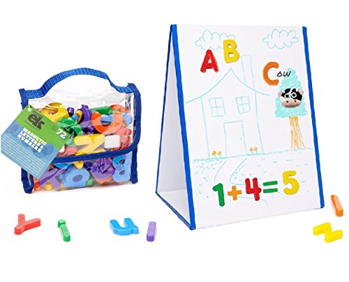 (EduKid Toys Tabletop MAGNETIC EASEL & WHITEBOARD (2 Sided) & 72 Magnetic LETTERS)