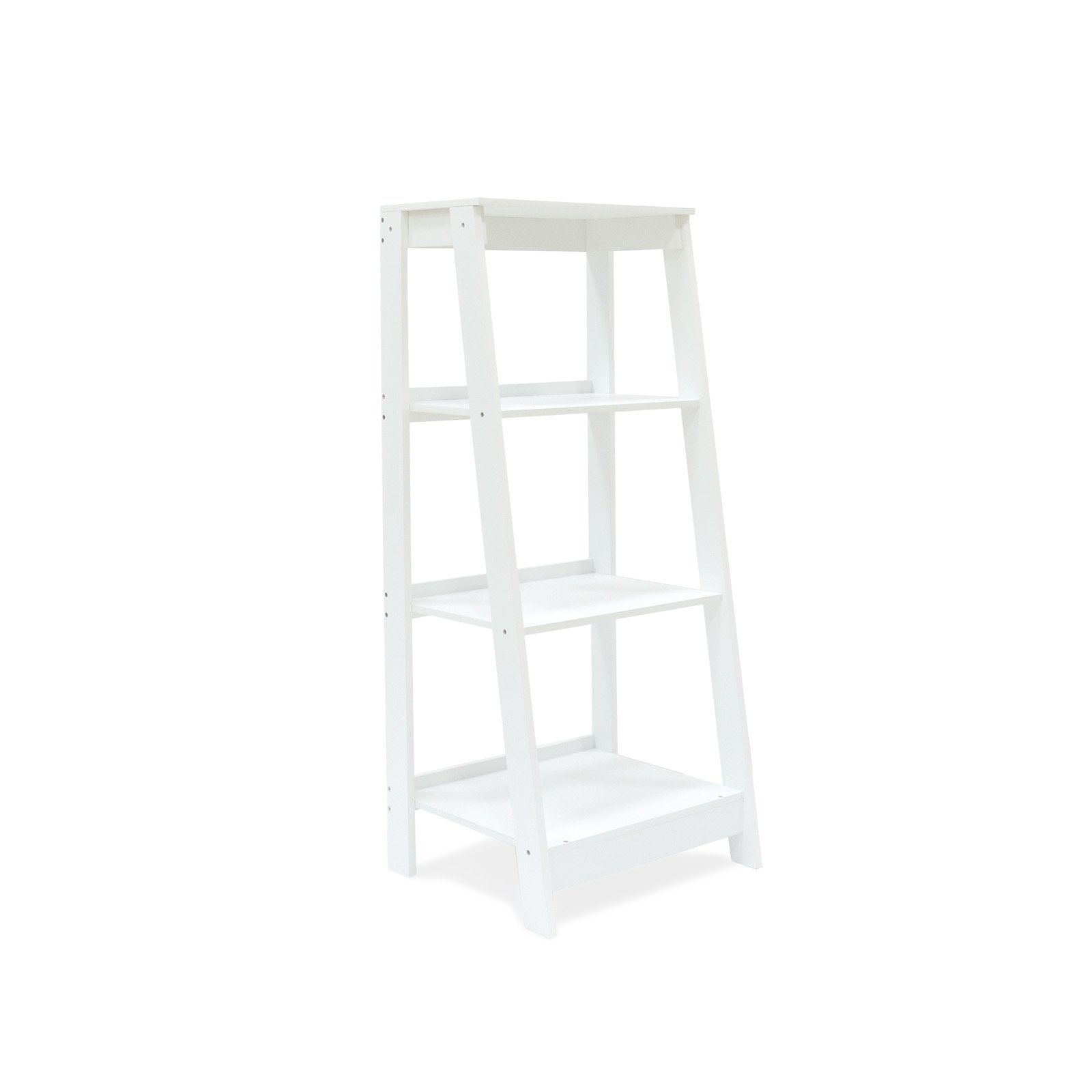 Coismo 3-Tier Ladder Functional Shelf Wooden Home Office Storage Bookcase Display, White