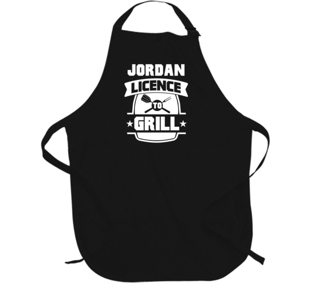 Jordan Licence To Grill BBQ Chef Parody Custom Name Father's Day Apron L Black