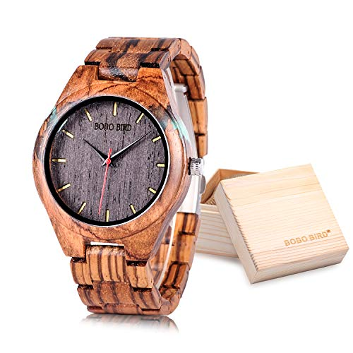 (BOBO BIRD Special Design Mens Wooden Watches Sport Quartz Timepieces (Black)