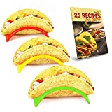Taco Holder Set of 12, Plastic Taco Stand, Holders Plate for Mexican Taco, Rack Truck Tray style, 3 colors Red Yellow Green, Non Toxic BPA. Bonus Recipe E-book