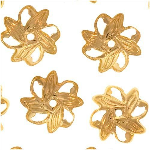 UnCommon Artistry Bright Gold Plated Open Pinwheel Bead Caps 9mm (50)
