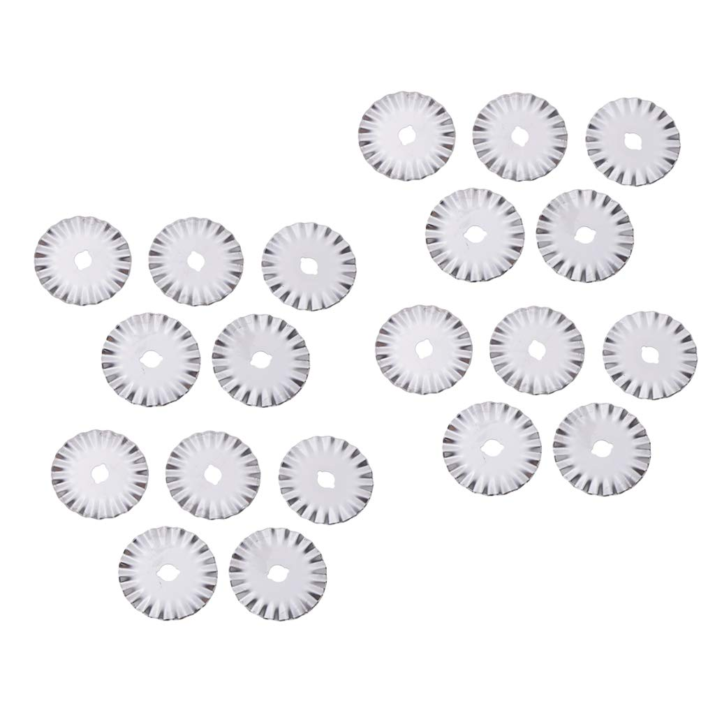 Prettyia 20pcs/Sets 45mm Wave Rotary Blade Rotary Cutter Pinking Blades Refill Quilting Blades for Cuts Fabric, Sewing, Leather Craft, Photo, Paper, Vinyl, etc by Prettyia