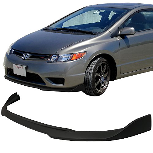 Front Bumper Lip Fits 2006-2008 Honda Civic   CS Style Black PU Front Lip Finisher Under Chin Spoiler Add On by IKON MOTORSPORTS   (Coupe Front Under Spoiler)
