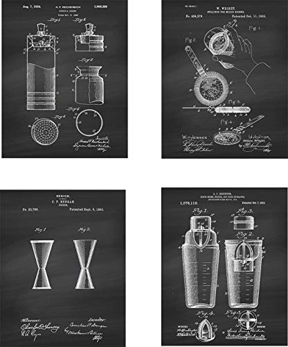 Alcohol Patent Wall Art Prints – set of Four (8×10) Unframed – wall art decor for spirit lovers