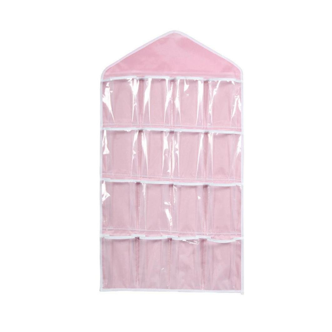 Clearance Deal! Hot Sale! Storage Bag, Fitfulvan Pockets Clear Hanging Bag Socks Bra Underwear Rack Hanger Storage Organizer (Pink) by Fitfulvan (Image #1)