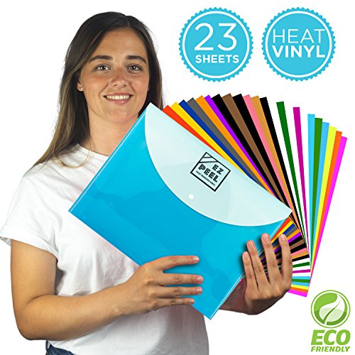 HTV HEAT TRANSFER VINYL All-In-One Bundle | 23 12 x 10inch Multicolor Sheets | For Heat Press Machine | BONUS Teflon Sheet, Organizational Folder & Test T-Shirt Material | The #No.1 DIY T-Shirt Bundle by Samuel Douglas Studios