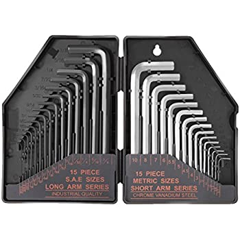 """Tacklife Hex Key Allen Wrench Set 30-Piece with 15 Black Long Arm(Inches): 0.028""""Up To 3/8"""" and 15 Matte Finished Short Arm(Metric): 0.7mm Up To 10 mm 
