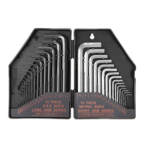 "Tacklife Hex Key Allen Wrench Set 30-Piece with 15 Black Long Arm(Inches): 0.028""Up To 3/8"