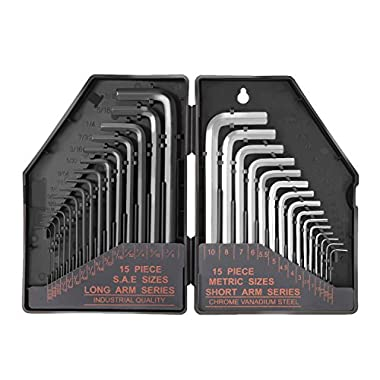 "Tacklife Hex Key Allen Wrench Set 30-Piece with 15 Black Long Arm(Inches): 0.028""Up To 3/8  and 15 Matte Finished Short Arm(Metric): 0.7mm Up To 10 mm 