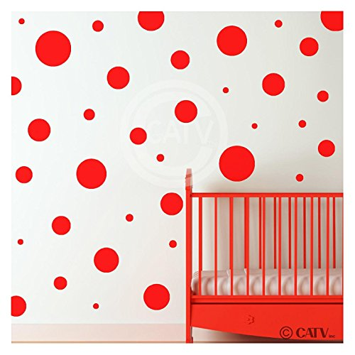 - Assorted Vinyl Polka Dots circle wall decals vinyl stickers nursery decor (Red/set of 32)