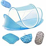 Travel Cot for Toddler,Mosquito Tent Infant Baby Bed Portable Mosquito Net Folding Baby Crib Netting,Portable Baby Cots Newborn Foldable Crib Net with Summer Sleeping Mat and Music Pack(Blue)