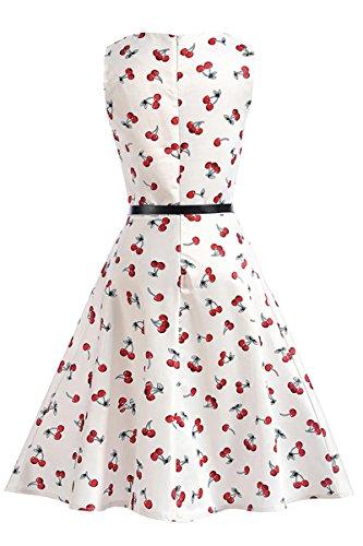 Yming Damas vestido de la vendimia del vestido del verano vestido de una línea Cocktaildresses vestidos de fiesta elegante playa Blancos, cerezas