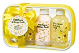 Bath and Body Gift - Home Spa for Women Honey Comb Fragrance Bathroom Kit with Shower Gel, Bubble Bath, Body Lotion, and a Bath Puff - Luxury Skin Care Bath Bag