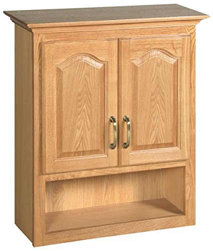Oak Cabinets Wall Bathroom (Design House 552844 26-Inch by 30-Inch Richland 2 Door Ready-To-Assemble Bathroom Wall Cabinet, Nutmeg Oak)