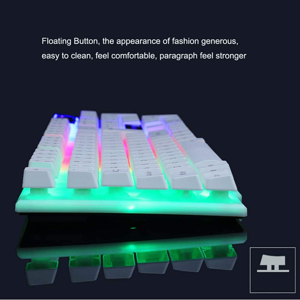 Black GT300 Colorful LED Illuminated Backlit Gaming Keyboard,USB Wired PC Rainbow Gaming Keyboard Mouse Set Mechanical Feel