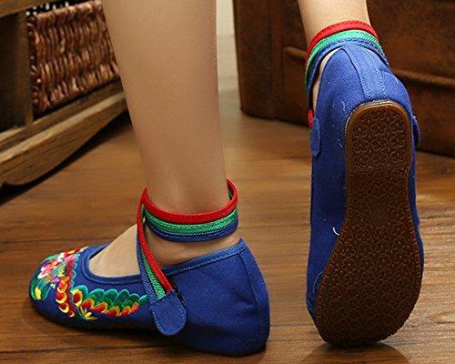 Icegrey Bordado Hecho A Mano Crossover Tobillo Zapatos Planos Para Las Mujeres Azul