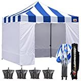 Cheap ABCCANOPY 10 X 10 Carnival Ez Pop up Canopy Tent Commercial Instant Gazebos with 6 Removable Sides and Roller Bag Bonus 4x Weight Bag (Carnival blue Roof with white walls)
