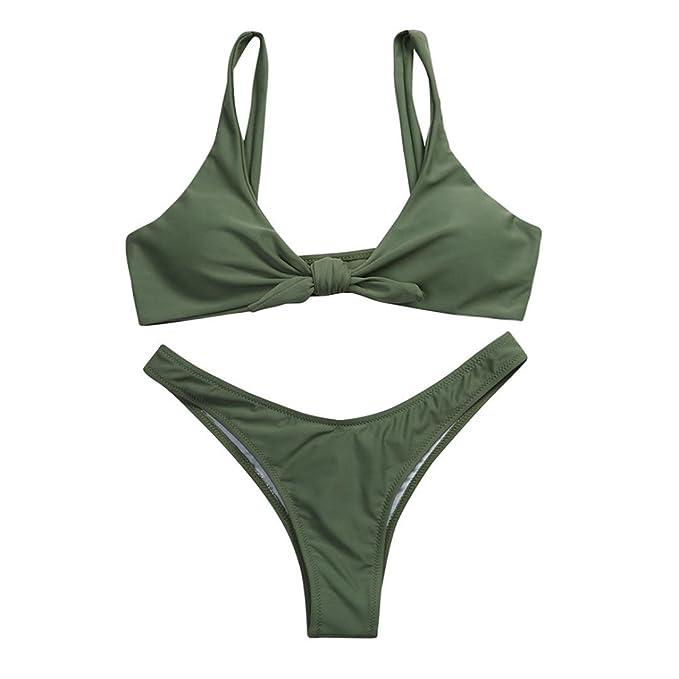 759749a7d51f8 Amazon.com: Women [ Two-Piece ] Bikini Set, Summer [ Bow Knotted ] Swimsuit  [ Scoop ] Bikini Swimsuit [ Push-up Padded ] Swimwear Suit: Clothing