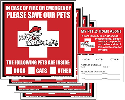 First Home Ferret Kit - Hot Dog Collars US Made Pet Alert Rescue Pack, Window Stickers (4) & Wallet Cards (2) Keep Pets Safe in Emergency
