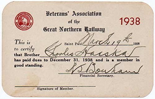 1938 Veterans' Association of the Great Northern Railway Card~106340 ()