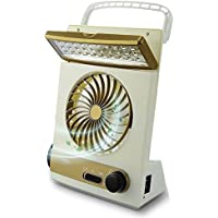 Coolly 3 in 1 Desktop Cooling Fan & Eye-Care LED Table Lamp & Emergency Flashlight, Solar Panel Adaptor Plug for Home Office Camping Hiking Travel (Gold)