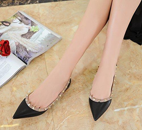 Women's on Toe soft Studded Flats Shoe Rivets Dress beige sheep Pointed black Shoes Slip leather Wedding FXrUqFw