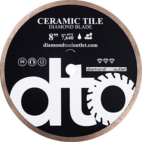 Rim Sintered Diamond Blade - dto TWC08H 8-Inch Heavy-Duty Tile Continuous Rim Diamond Blade for Ceramic Tile, 5/8-Inch Arbor, Wet Cutting, 7640 Max. RPM