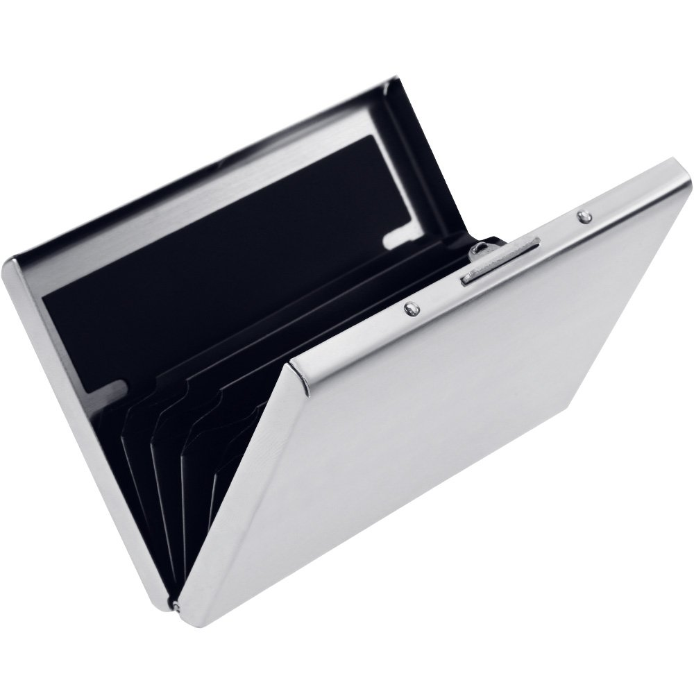 Rovtop Boîte de Carte Bancaire Boîte pour Carte de Crédit en Acier Inoxydable Protection de Carte Crédit Boite de Carte Bancaire Anti - technologie RF, avec 6 slots