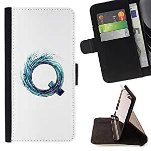 BullDog Case - FOR/Samsung Galaxy S6 / - / Q LETTER VORTEX AQUA WATER SURF WHITE /- Monedero de cuero de la PU Llevar cubierta de la caja con el ID Credit Card Slots Flip funda de cuer