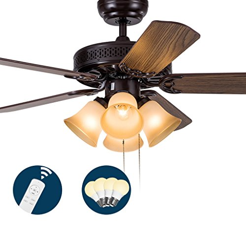 YANG Ceiling Fan Light Fan Lamp Restaurant Living Room Bedroom Home Led Simple Fan Light Quality Assurance E274 (Color : Remote control, Size : 52 inches)