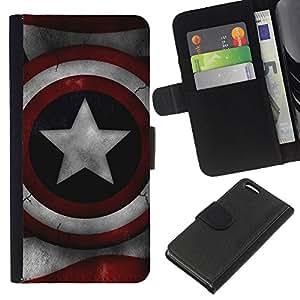 """A-type (América Super Héroe Sheild"""") Colorida Impresión Funda Cuero Monedero Caja Bolsa Cubierta Caja Piel Card Slots Para Apple iPhone 5C"""