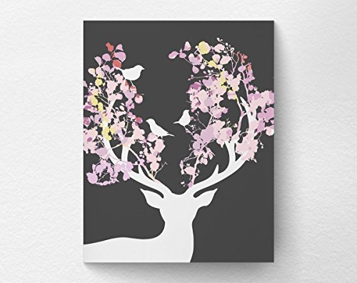 - Floral Deer Art Print, Deer Silhouette Decor, Woodland Deer Nursery Wall Art, 8x10 Print