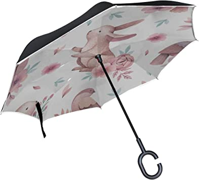 Double Layer Inverted Inverted Umbrella Is Light And Sturdy Two Labrador Retrievers Swimming Frisbee Reverse Umbrella And Windproof Umbrella Edge Nig