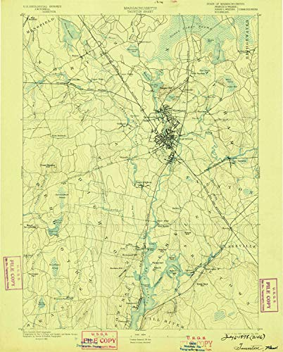 YellowMaps Taunton MA topo map, 1:62500 Scale, 15 X 15 Minute, Historical, 1893, Updated 1898, 19.6 x 15.8 in - Paper -