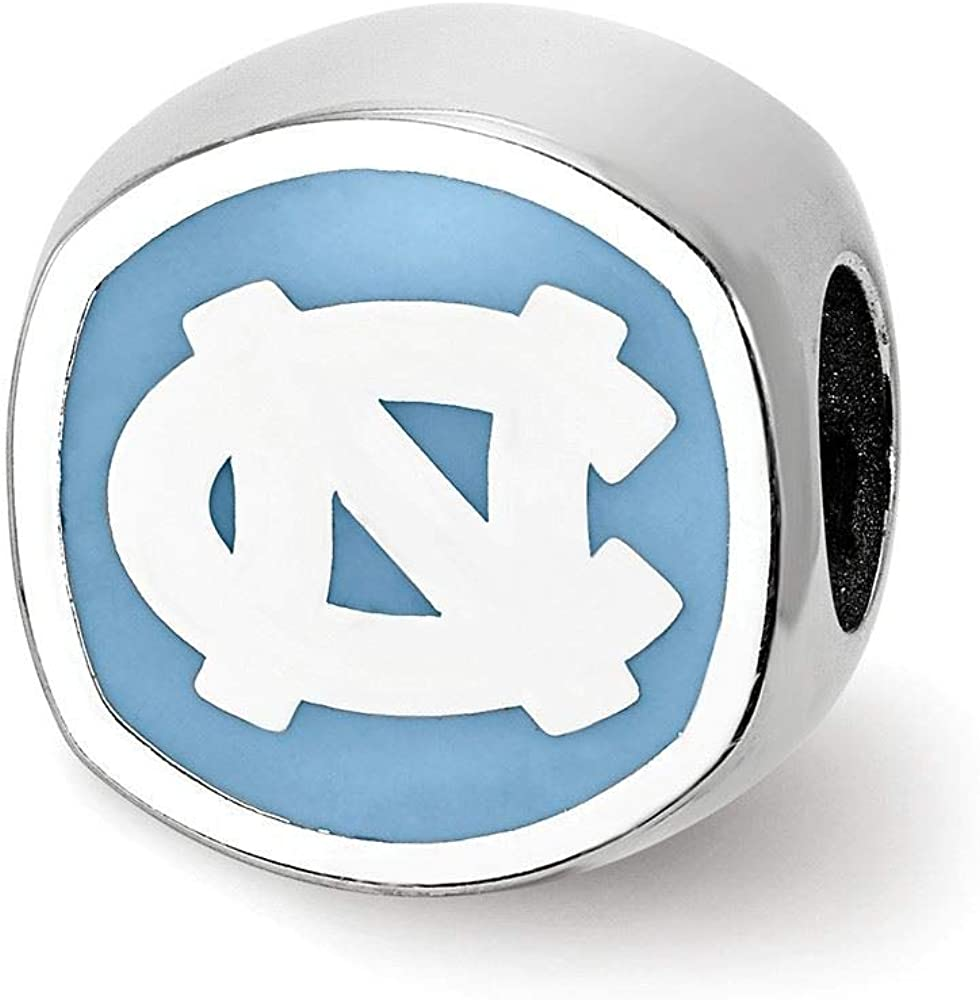 LogoArt NCAA University Of North Carolina Sterling Silver Enameled Bead