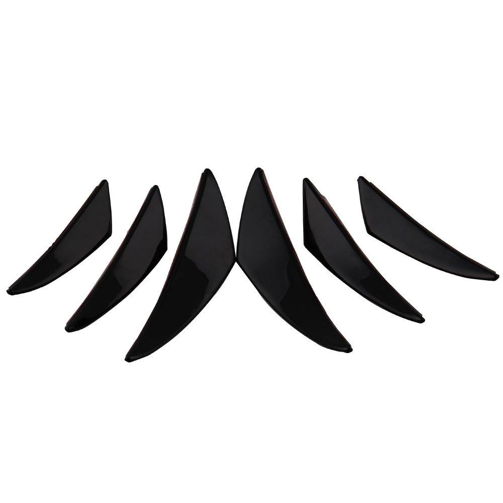 BEESCLOVER Universal Carbon Fiber Front Bumper Body Spoiler Canards Splitter Fins Kit 6pcs//Set Black