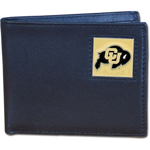 Colorado Buffaloes Leather Bi-fold Wallet - Colorado Buffaloes Mens Leather
