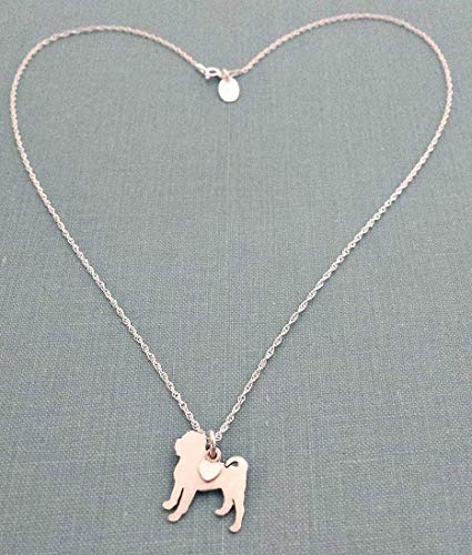 Chinese Shar Pei Sterling Dog charm Necklace Pet memorial silhouette Personalize Monogram jewelry - Shar Pei Dog Charm
