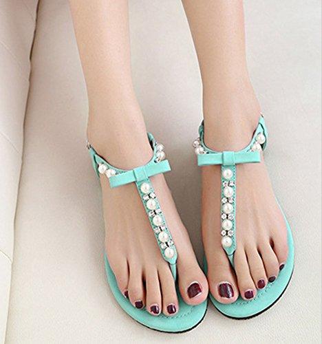 Calzado De Mujer Zapatos De La Playa De Bohemia De Abalorios Sandalias Del Dedo Azul