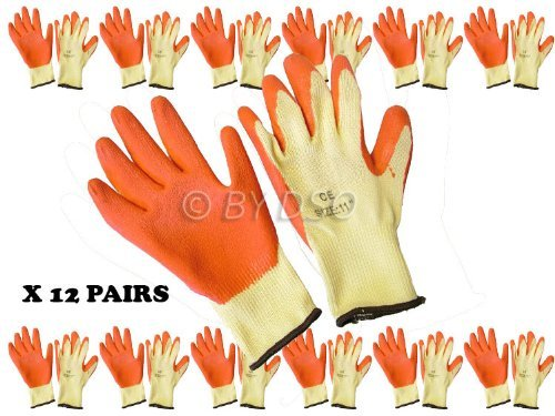 Toolzone Latex Dipped Gloves Ex. Large Size 10-1/2 - Pack of 12