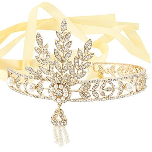 EVER FAITH Movie Inspired Cream Simulated Pearl Art Deco Bridal Headband Tiara Gold-Tone