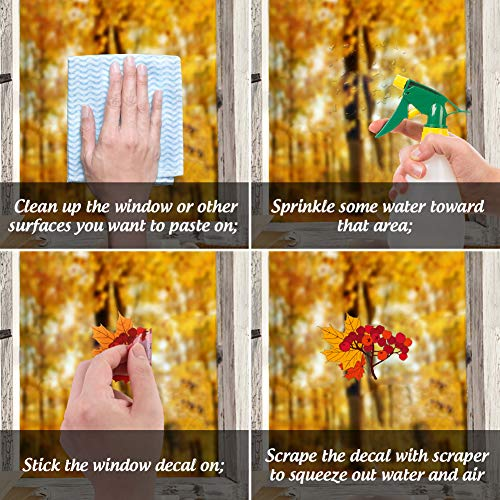 DomeStar Fall Leaves Window Clings, 174PCS Window Fall Stickers Maple Leaves Window Decals for Halloween Thanksgiving Day Decorations