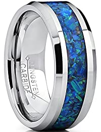 8MM Tungsten Carbide Wedding Band Ring With Blue Green Simulated Opal Inlay 8MM