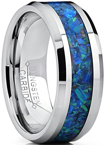 Men's 8MM Tungsten Carbide Wedding Band Ring with Blue Green Simulated Opal Inlay 8MM Size 11