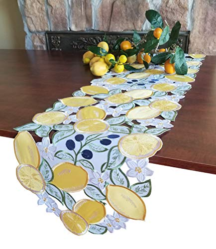- GRANDDECO Lenmon Table Runner,Applique Yellow Embroidered Craft, Home Kitchen Dining Tabletop Decoration,Runner 13