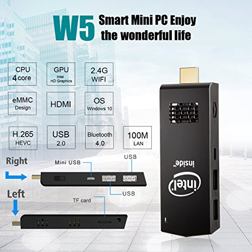 W5 Mini PC Windows 10 Computer Stick Intel Z3736F Quad Core up to 1.83GHz,2GB RAM 32GB ROM,H.265 with Built in Wifi,Bluetooth 4.0 by ACEPC (Image #1)