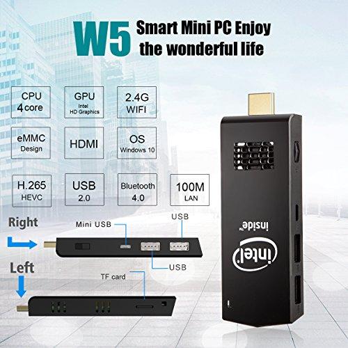 W5 Mini PC Windows 10 Computer Stick Intel Z3736F Quad Core up to 1.83GHz,2GB RAM 32GB ROM,H.265 with Built in Wifi,Bluetooth 4.0 by NEXBOX (Image #1)'