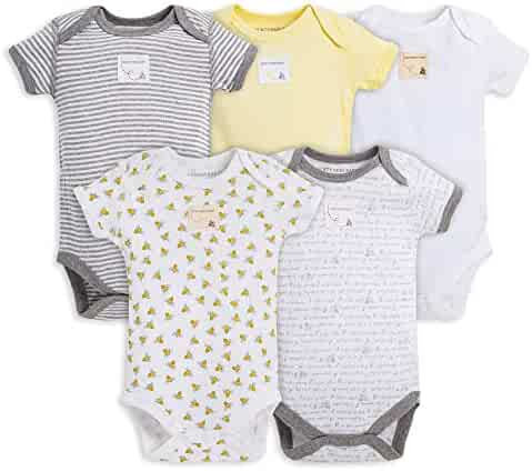 Burt's Bees Baby Baby Girls' 5 Pack Essentials Solid Bodysuits (Baby)-Blossom